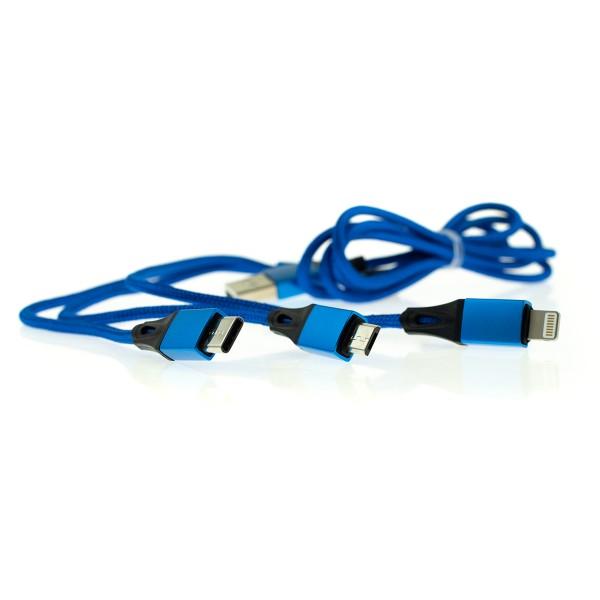 Apple Lightning/USB-C/Micro USB kábel 3v1 - 1m, modrý 3
