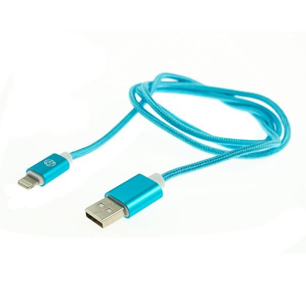 Apple Lightning nylonový kábel - 1m, svetlomodrý 1