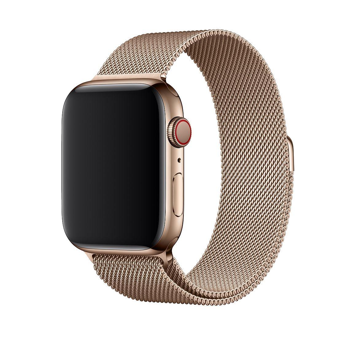 Remienok na Apple Watch 42mm / 44mm, milánsky ťah - zlatý 1