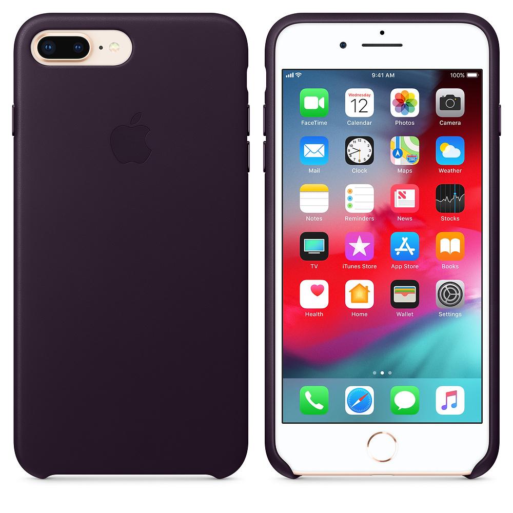 Apple kožený obal pre iPhone 7 Plus / 8 Plus – baklažánová 3