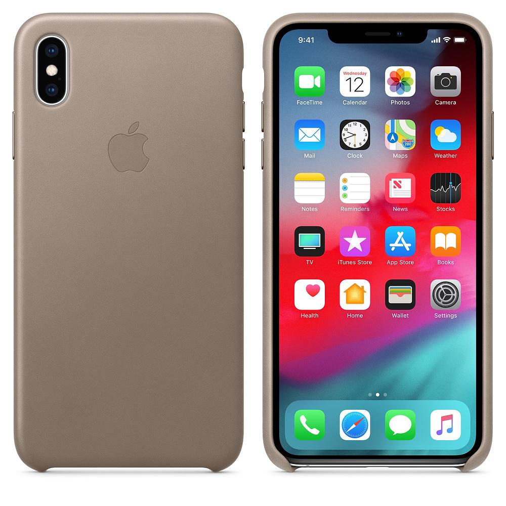 Apple kožený obal pre iPhone XS Max – dymový 3
