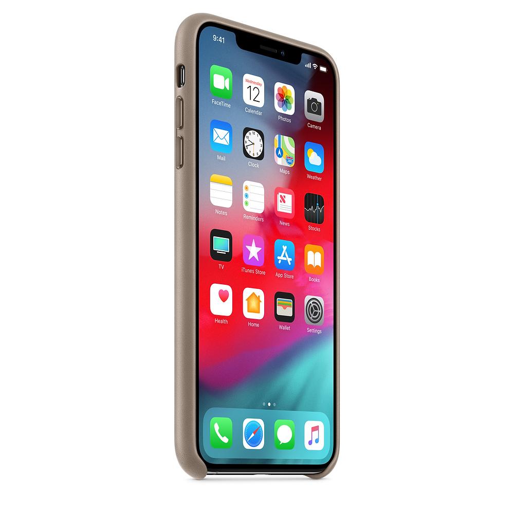 Apple kožený obal pre iPhone XS Max – dymový 2