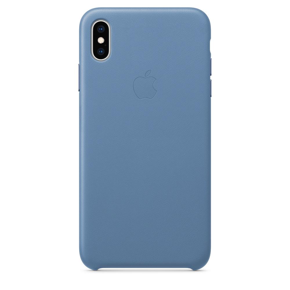 Apple kožený obal pre iPhone XS Max – modro-sivá 1