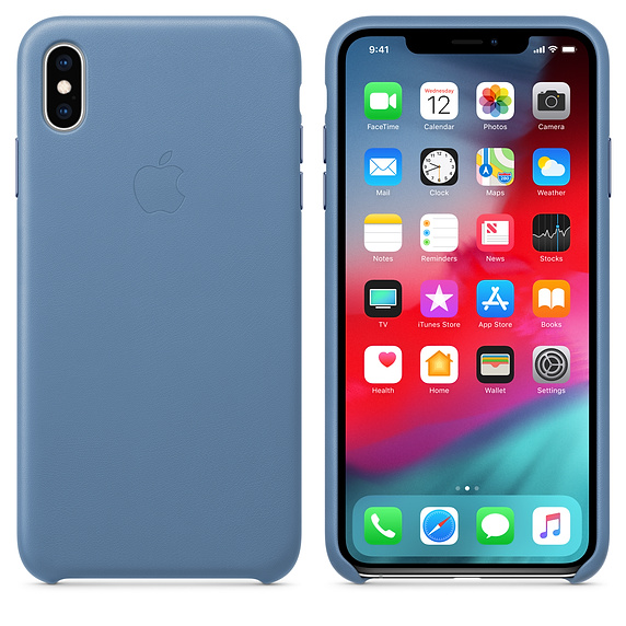 Apple kožený obal pre iPhone XS Max – modro-sivá 3