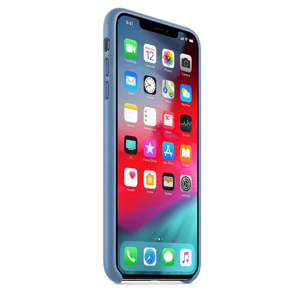 Apple kožený obal pre iPhone XS Max – modro-sivá 2