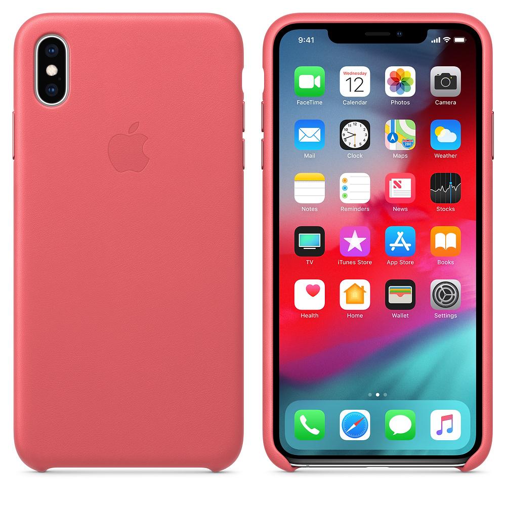 Apple kožený obal pre iPhone XS – pivonkovo ružový 3