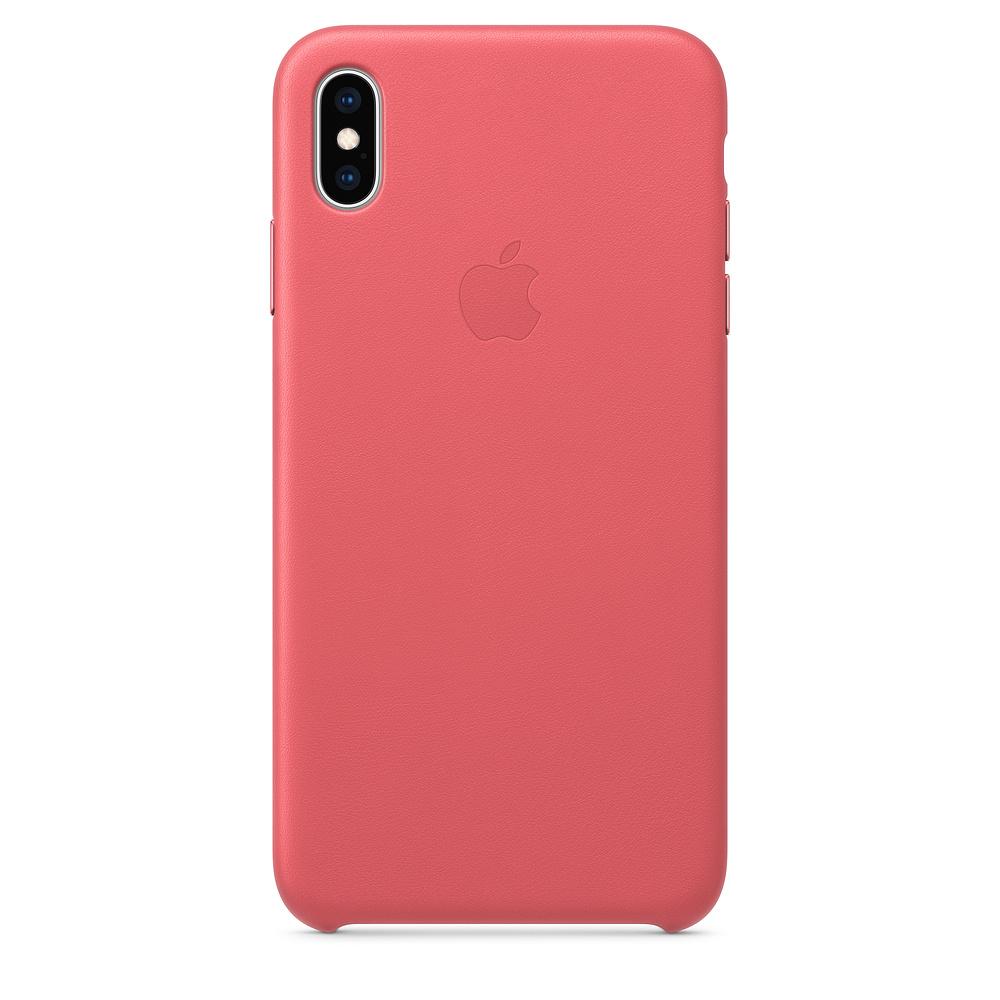 Apple kožený obal pre iPhone XS – pivonkovo ružový 1