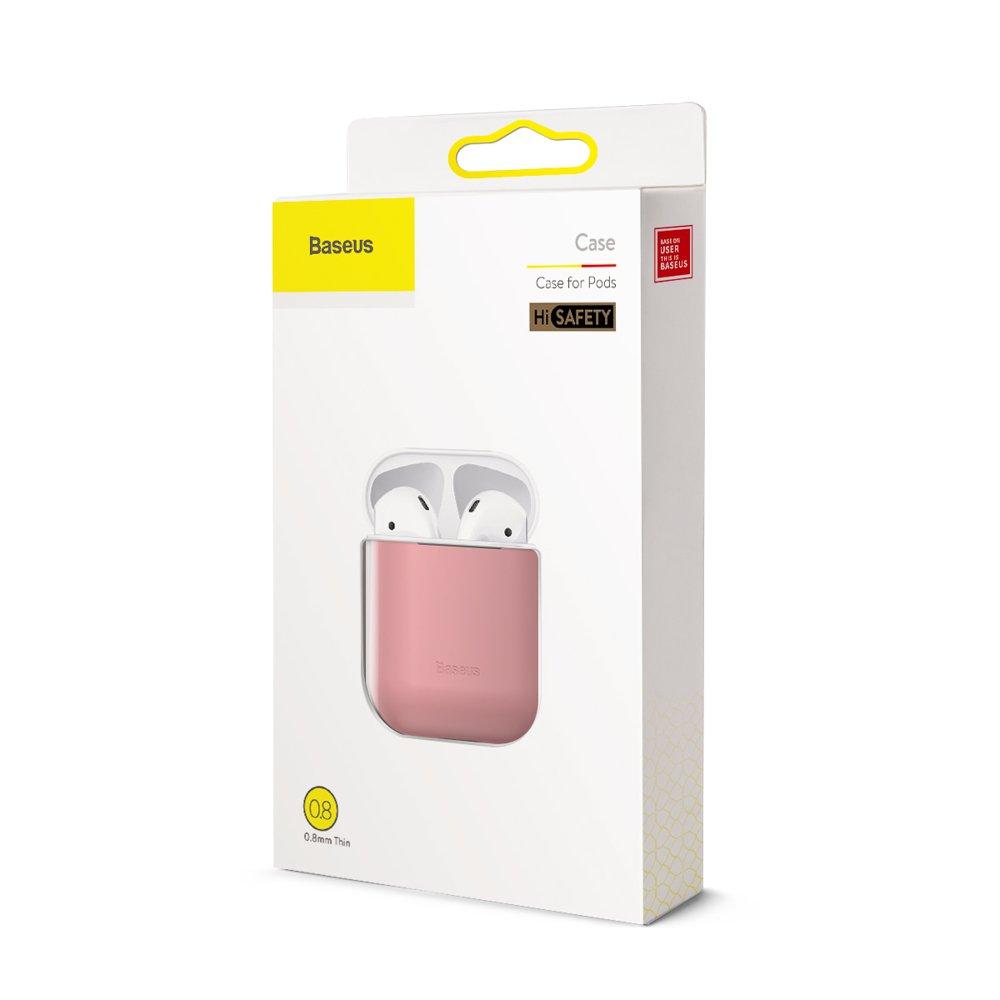 Baseus Airpods ultratenký silikónový obal - ružový 4