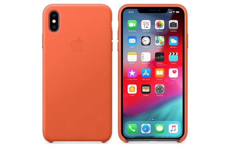 Apple kožený obal pre iPhone XS Max – tmavo oranžový 2