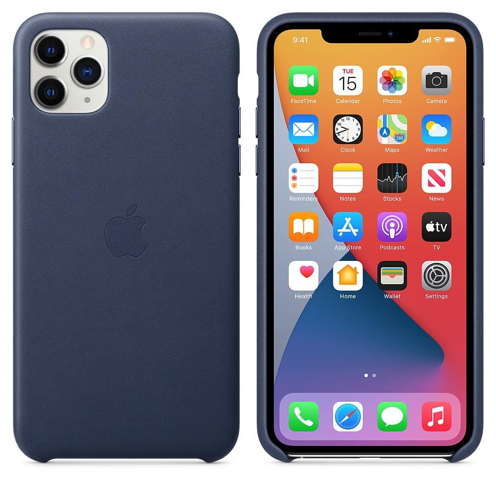 Apple kožený obal pre iPhone 11 Pro – polnočne modrý 4