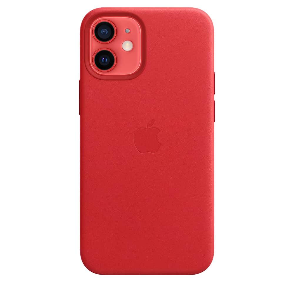 Apple kožený obal pre iPhone 12 Mini – červený s MagSafe 4