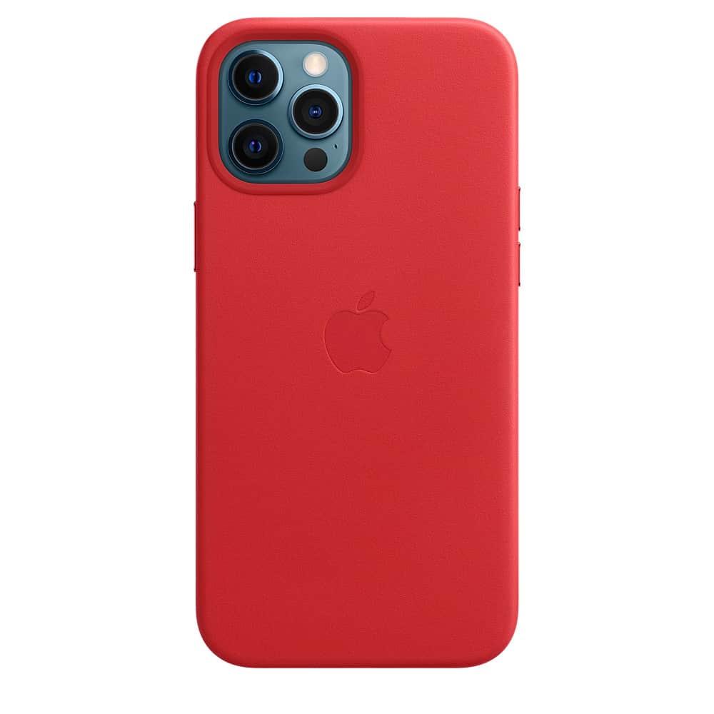 Apple kožený obal pre iPhone 12 Pro Max – červený s MagSafe 4