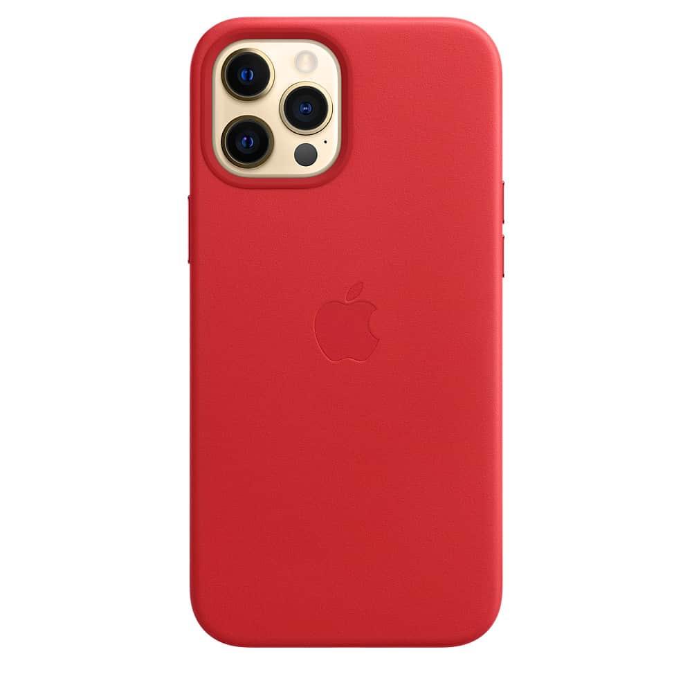 Apple kožený obal pre iPhone 12 Pro Max – červený s MagSafe 3