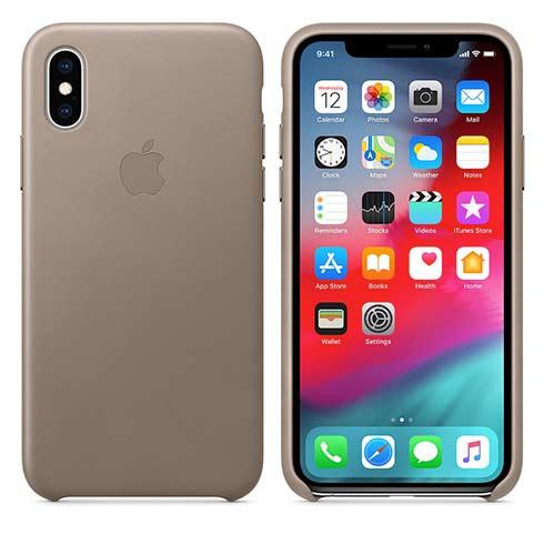 Apple kožený obal pre iPhone XS – dymový 3