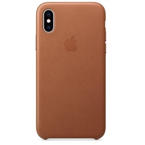 Apple kožený obal pre iPhone XS – sedlovo hnedá 1
