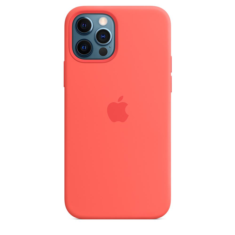 Apple silikónový obal pre iPhone 12/12 Pro – citrusovo ružový s MagSafe 5