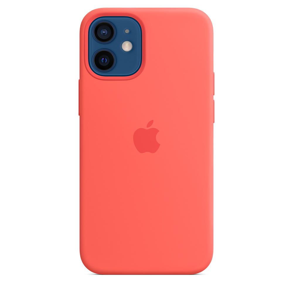 Apple silikónový obal pre iPhone 12 mini – citrusovo ružový s MagSafe 4