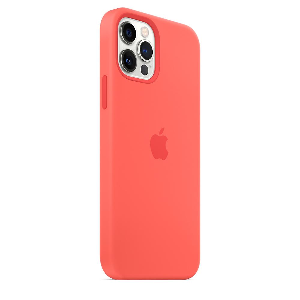 Apple silikónový obal pre iPhone 12/12 Pro – citrusovo ružový s MagSafe 3