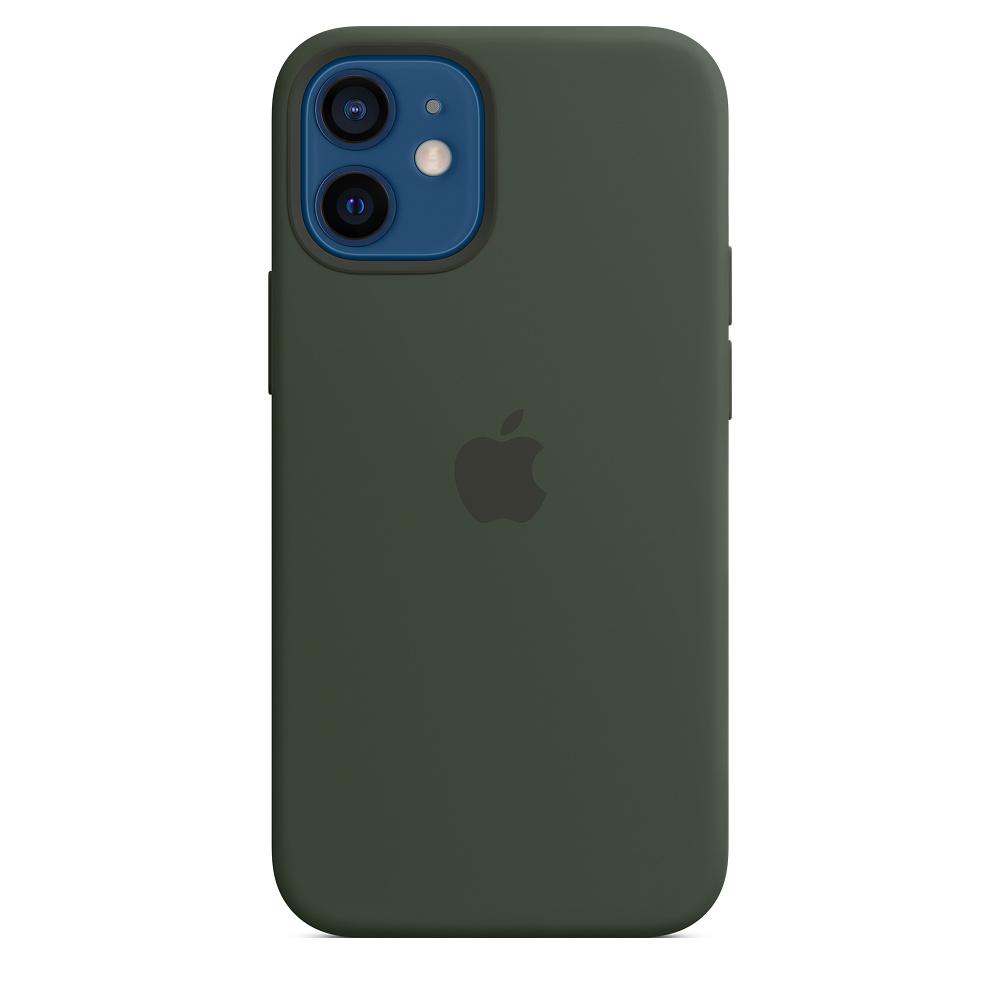 Apple silikónový obal pre iPhone 12 mini – cypersky zelený s MagSafe 5