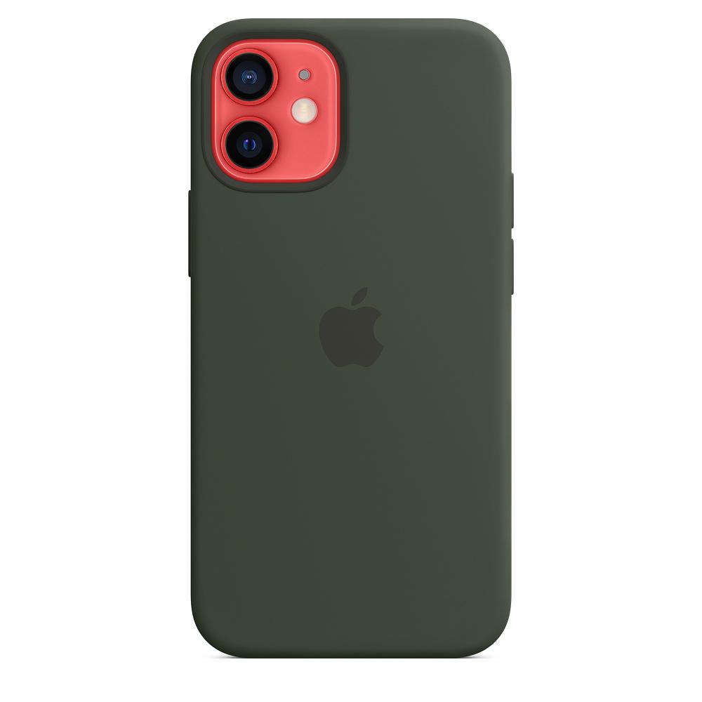 Apple silikónový obal pre iPhone 12 mini – cypersky zelený s MagSafe 3
