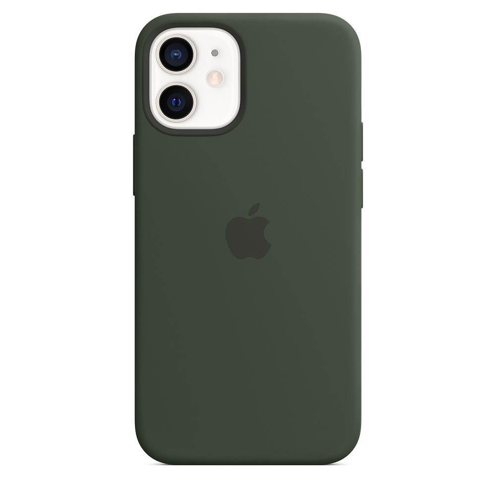 Apple silikónový obal pre iPhone 12 mini – cypersky zelený s MagSafe 4