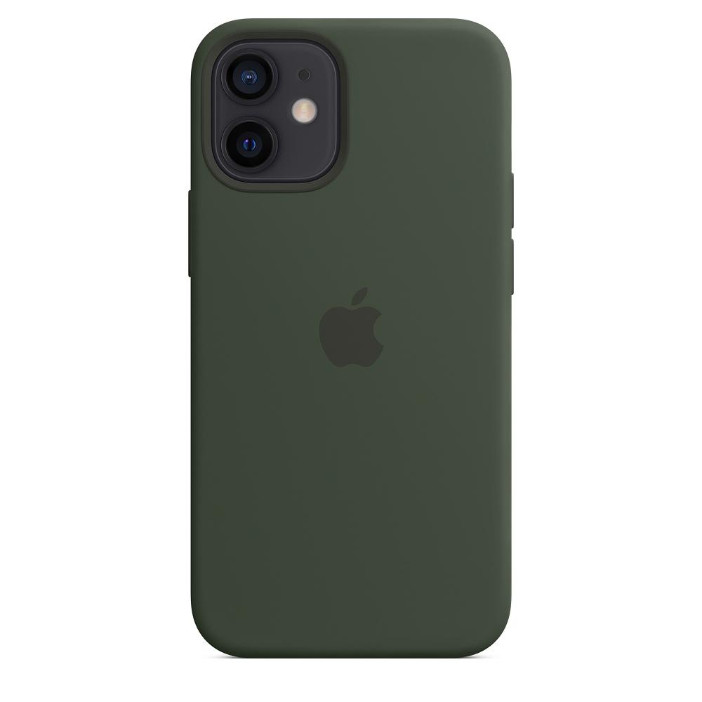 Apple silikónový obal pre iPhone 12 mini – cypersky zelený s MagSafe 2