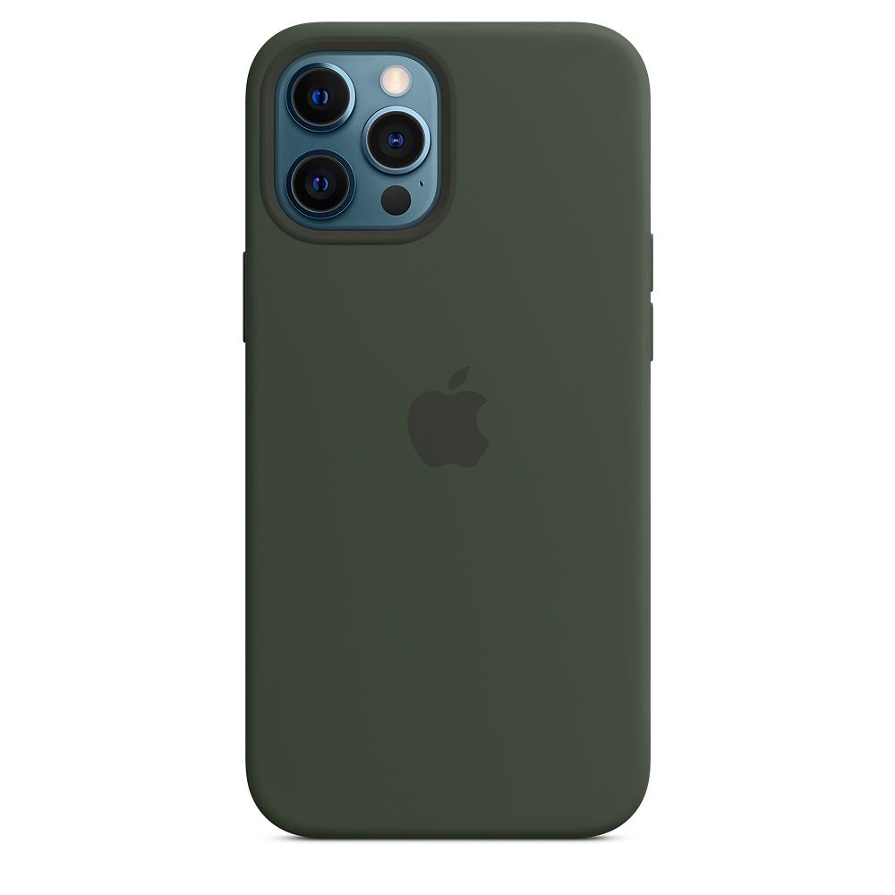 Apple silikónový obal pre iPhone 12 Pro Max – cypersky zelený s MagSafe 2