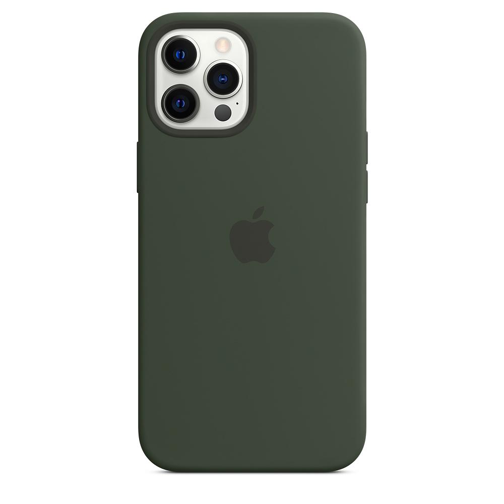 Apple silikónový obal pre iPhone 12 Pro Max – cypersky zelený s MagSafe 3