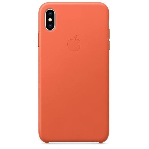 Apple kožený obal pre iPhone XS Max – tmavo oranžový 1