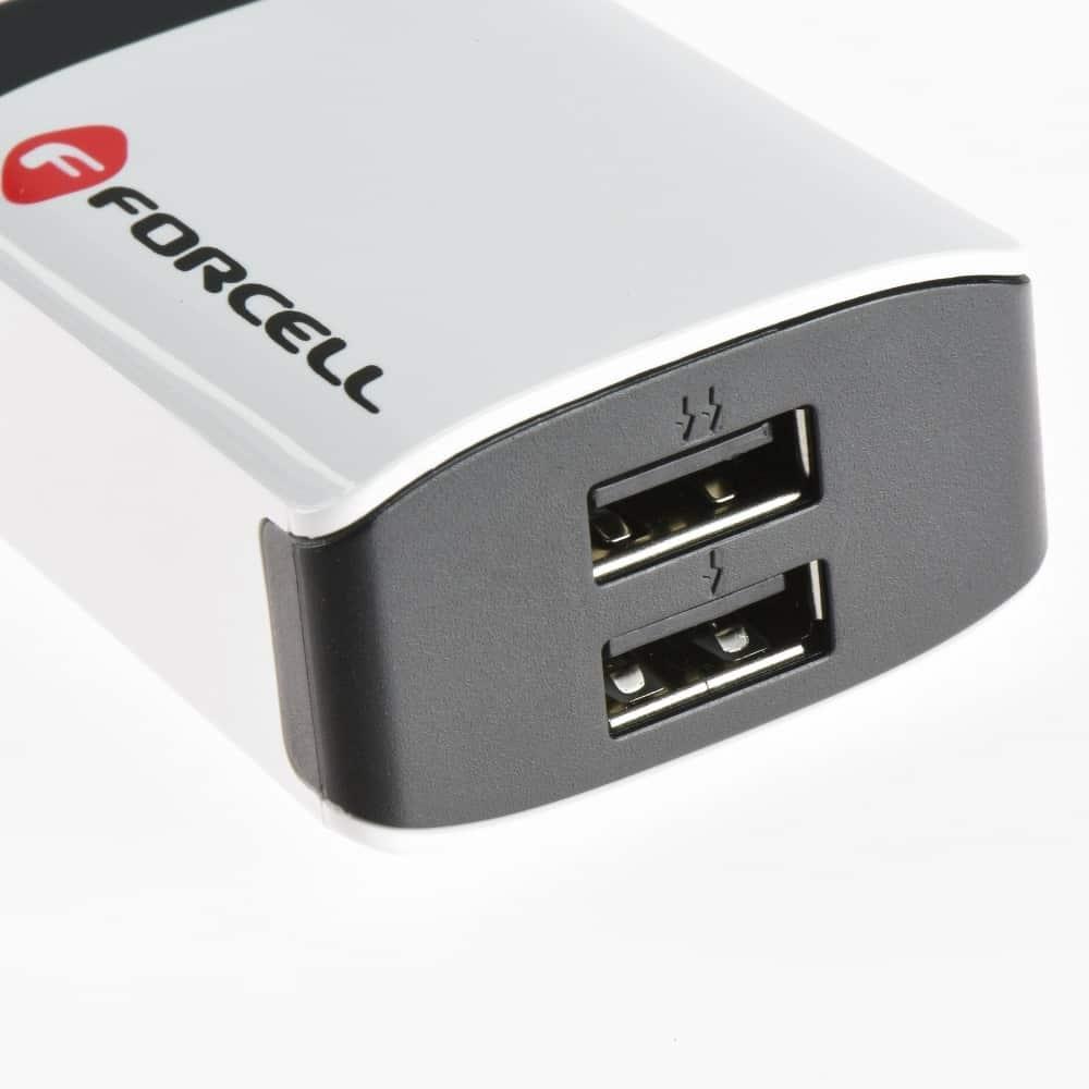 Cestovná nabíjačka Forcell 2A s 2x USB zásuvkou 4