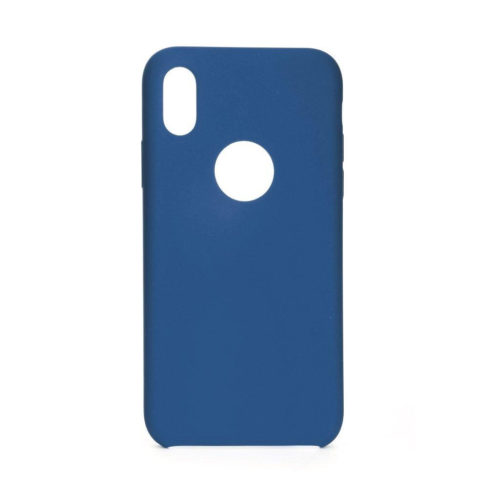 Forcell silikónový obal pre iPhone XR s modrý (s otvorom na logo) 1
