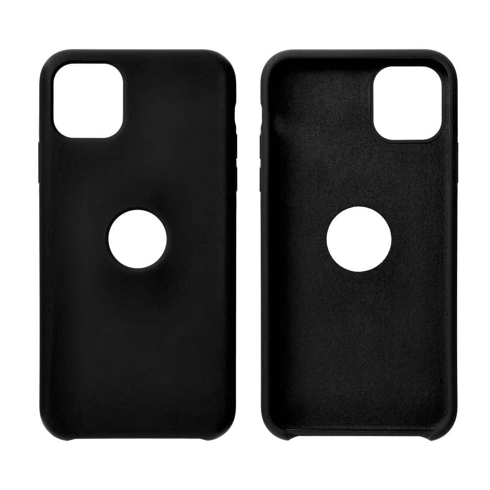 Forcell silikónový obal pre iPhone X/XS čierny (s otvorom na logo) 3