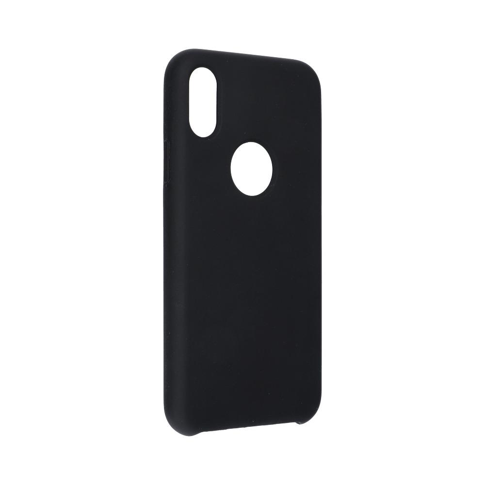 Forcell silikónový obal pre iPhone X/XS čierny (s otvorom na logo) 1