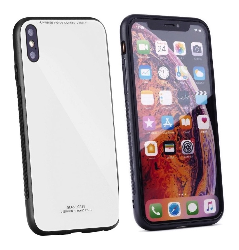 SKLENENÝ obal Forcell pre iPhone XS Max biely 1